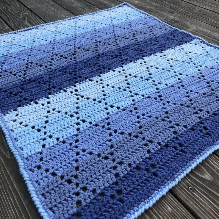 Diamond Stitch Baby Blanket In Bernat Pop Afghans