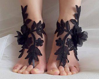 Yalınayak sandaletler çiçekler siyah fransız dantel yalınayak sandaletler düğün sandaletleri kostüm aksesuarları ücretsiz gönderim! #jewelry