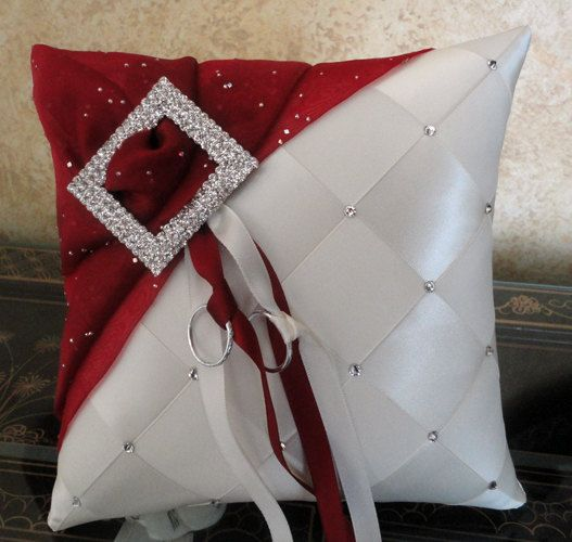 Wedding Ring Bearer Pillow Ivory & Apple Red or by SisiCreations, $55.00