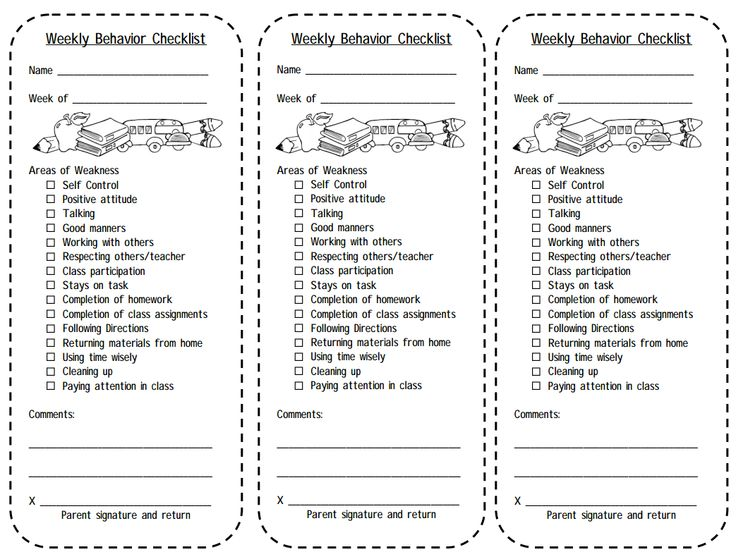 Classroom Design Checklist ~ Weekly behavior checklist behaviour managment ideas