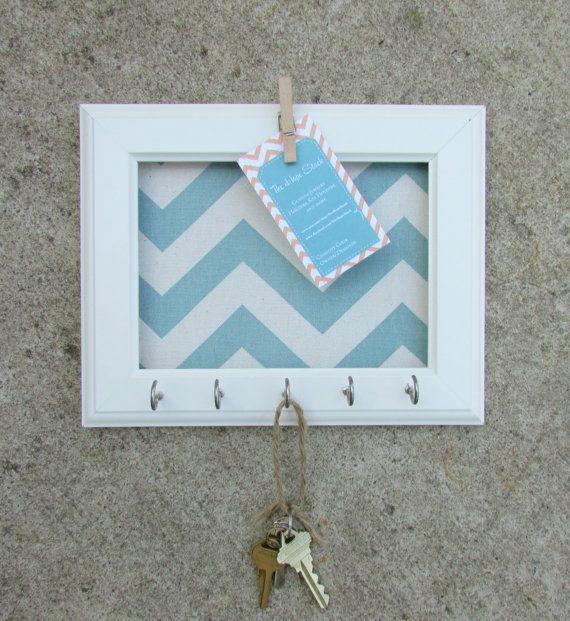 Key Holder Memo board Wall Hook Home Decor - Chevron Frame Organization 5 Silver Hooks- House warming gift