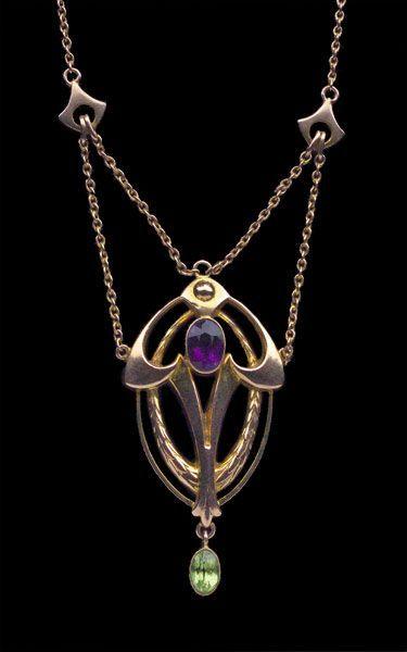Collar Art Nouveau c.  1900 El oro amatista Peridoto