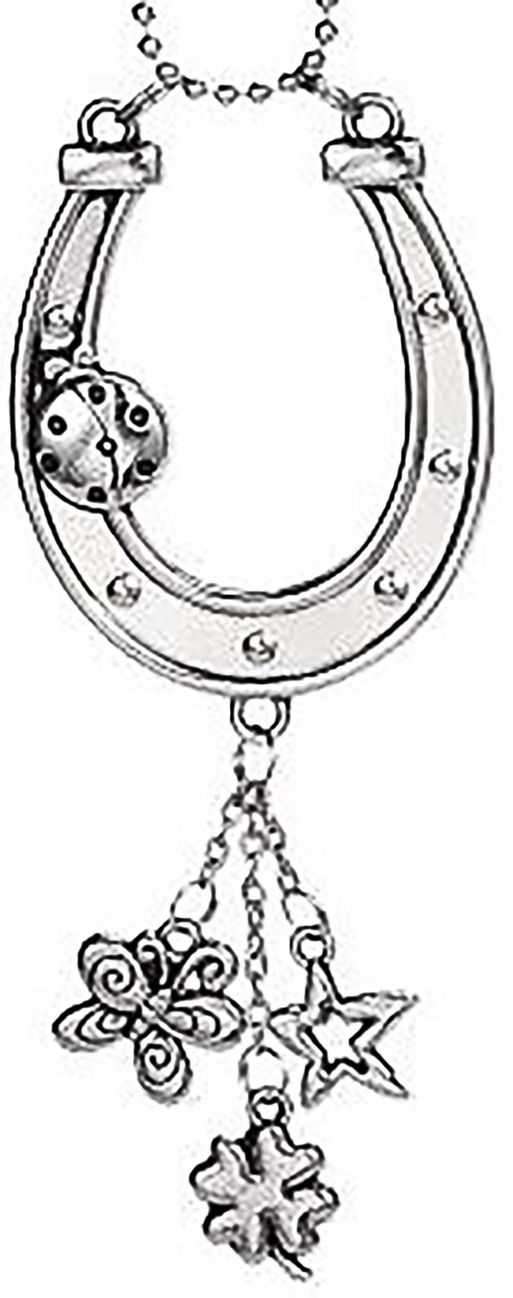 """Cool & Custom {7"""" Chain Hang} Single Unit of Rear View Mirror Hanging Ornament Decoration Made of Zinc Alloy w/ Cowboy Western Horseshoe & Cute Ladybug w/ Charms Design [Focus Silver Colored]"""