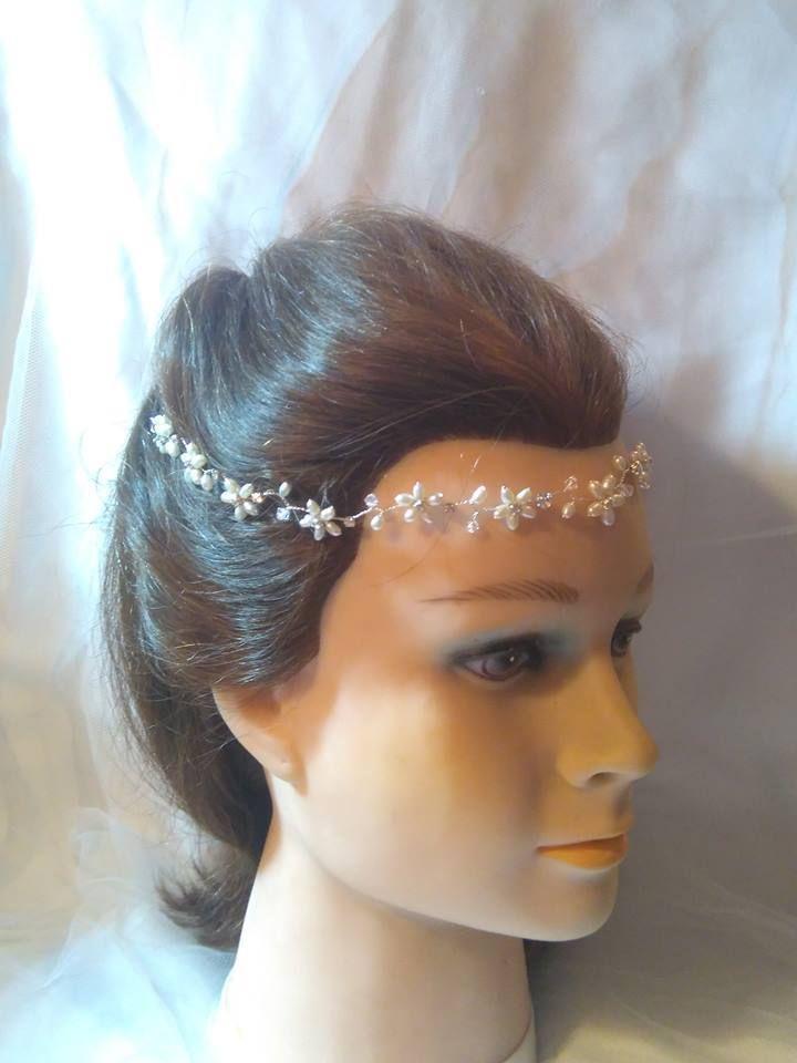 Headband / browband / forehead band boho pearls flowers wedding bridal tiara