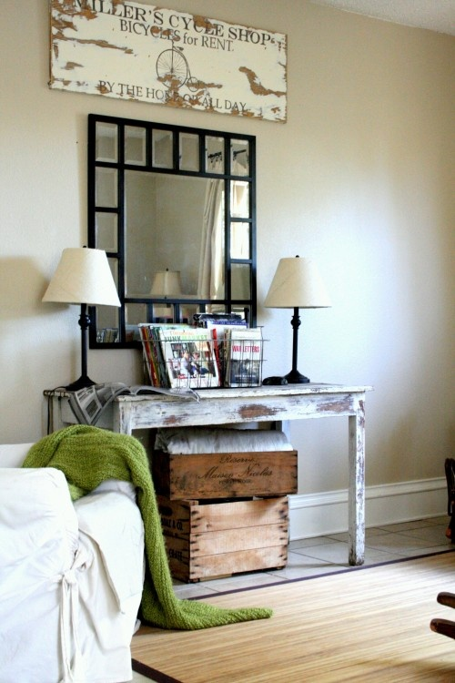 entrywayDecor, Mirrors, Ideas, Living Room Design, Consoles Tables, Family Rooms, Eclectic Families, Wire Baskets, Families Room