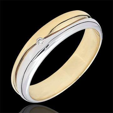 achat en ligne Bague Amour - Alliance homme or blanc et or jaune - diamant 0.022 carat - 9 carats
