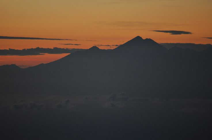 Volcanic peaks at sunrise.
