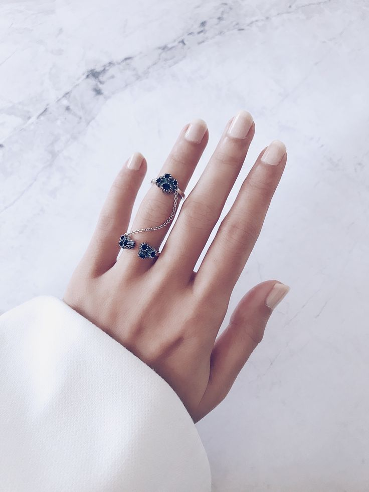 All you need... frosty nude nails and an eye catching ring - Modern minimal and stylish, the perfect finger candy and beauty pick-me-up - CLICK TO SHOP DOUBLE CHAIN RINGS NOW