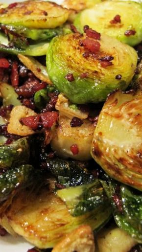 Crispy Brussels Sprouts w Bacon & Garlic Recipe  Bring a pot of water to the boil. Add rock salt. Blanch brussel sprouts for 4 minutes then drain and refresh in cold running water. Cut sprouts in half lengthwise. Heat olive oil on high. Add bacon and cook 1 minute. Add Brussels sprouts and fry until they start to brown around the edges and the bacon crisps. Add garlic slices and fry 1 minute until softened. Drain brussels sprouts to remove excess oil. Serve hot.