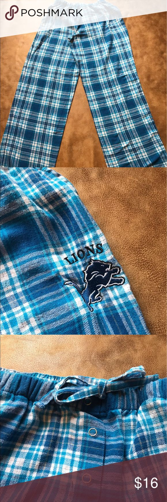 NFL Detroit Lions pajama bottoms. NFL flannel plaid Detroit Lions pajama bottoms. Good condition. Thanks for visiting my closet. NFL Team Apparel Intimates & Sleepwear Pajamas