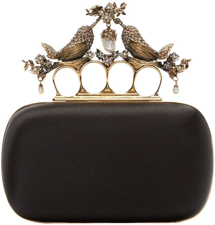 Alexander McQueen Clutch Bag, Wine, Leather, 2017, one size