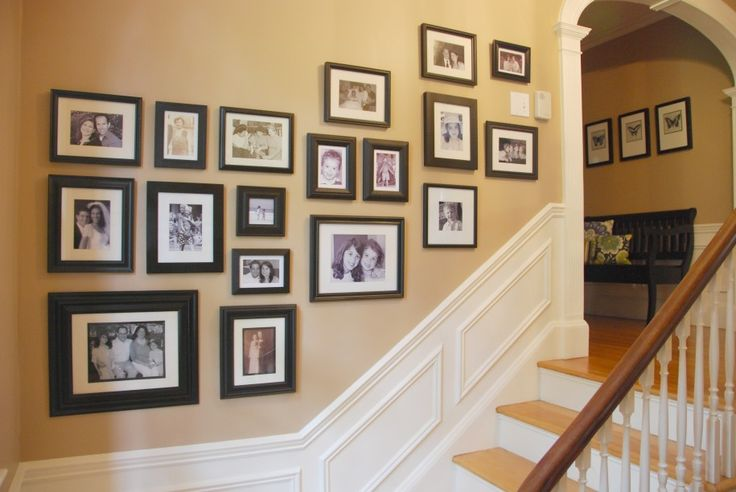 Beautiful Wall Picture Collage Ideas Inspirations : Amazing Wall Picture Collage Ideas For Empty Short Wall With Dark Frame And Staircase Id...