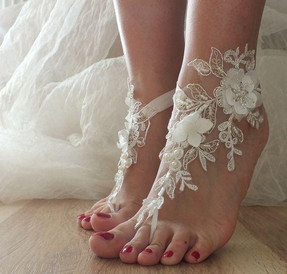 ivoire pearl mariage de plage sandales aux pieds nus