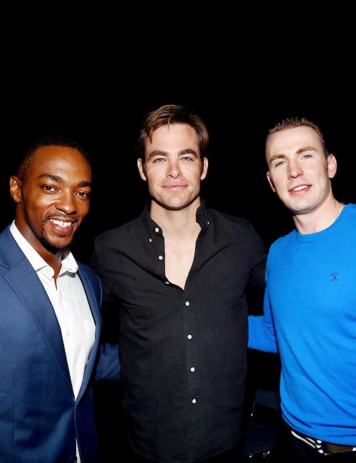 2 of my favorite Chrises in the same pic. <3 Chris Pine with Anthony Mackie and Chris Evans at Disney's D23 EXPO 2015 in Anaheim, California (August 15, 2015)