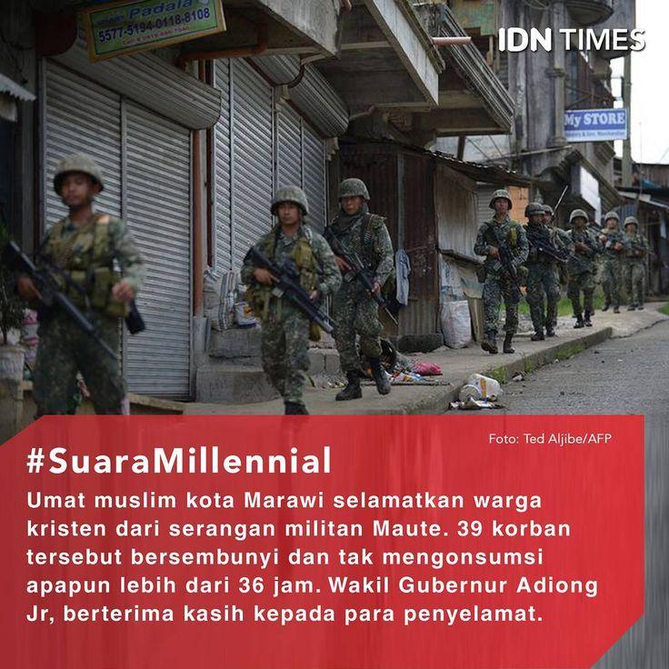 Sebuah kejadian menggambarkan #toleransi dan kebersamaan antar-umat manusia di tengah #krisis di Marawi, #Mindanao, #Filipina. . 39 warga #Kristen yang terjebak dalam penyerangan militan #Maute dan tentara diselamatkan dan di sebuah desa #Muslim. . Wakil Gubernur Lanao del Sur Mamintal Adiong Jr, mengungkapkan, penyelamatan ke-39 orang itu dipimpin oleh seorang pejabat lokal yang beragama #Islam, Salma Jayne Tamano. . Ia pun berterima kasih pada para #warga Muslim yang telah menyelamatkan 39…