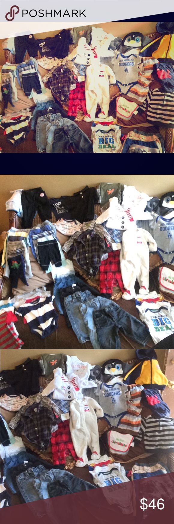 Baby Boy Clothes Bundle About 50-60 pieces   Baby gap  Guess baby  Oshkosh  Tommy Hilfiger  Carters  Little wonders  Mixed brands  Sizes 0-3M through 9-12M   Selling for cheap GAP Other