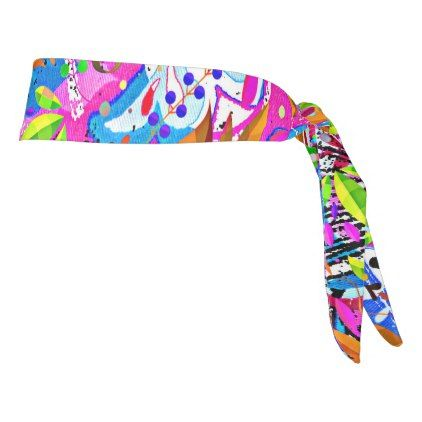 Cute colorful fantastic abstract floral tie headband - personalize gift idea special custom diy or cyo