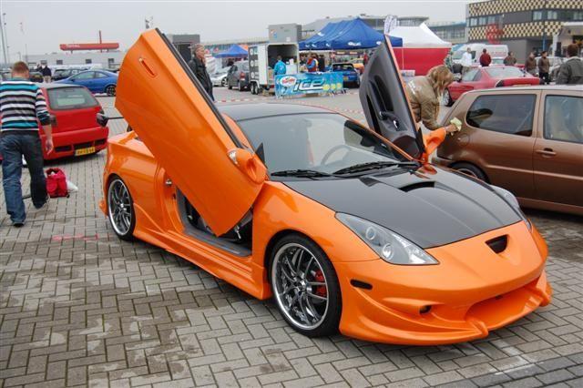 Orange And Black Toyota Celica With Lambo Doors