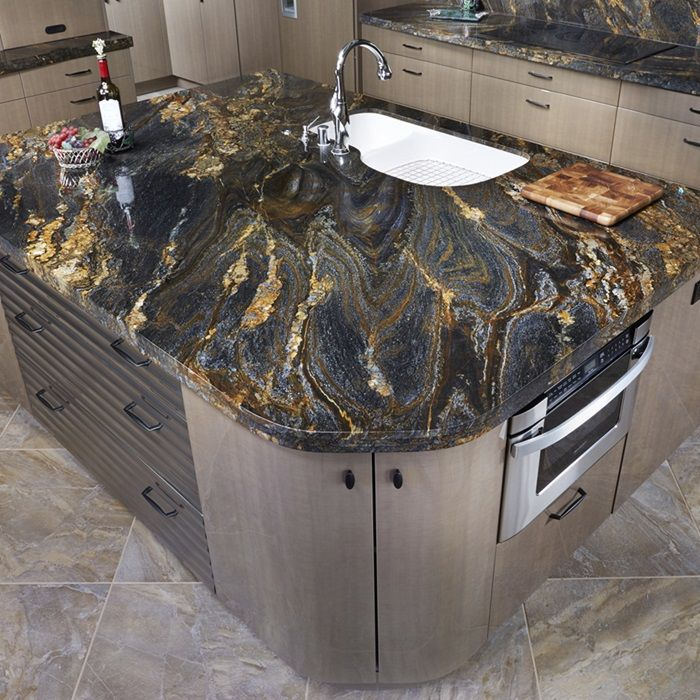 Granite Spectrus, leather finish for island