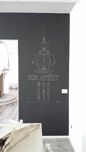 Parete lavagna in cucina. Disegno con gessetti.