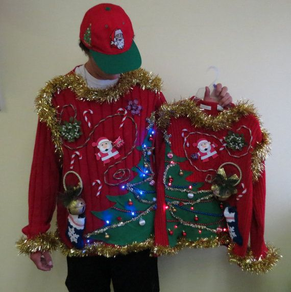 Made to order Matched set tacky Ugly Chrismtas Sweaters Light UP Christmas Trees half n half front & back