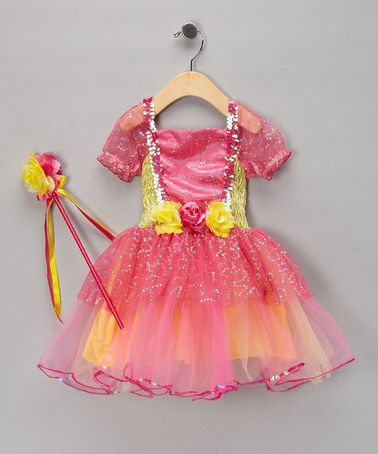 Look at this #zulilyfind! Hot Pink & Yellow Sequin Dress & Wand - Toddler & Girls #zulilyfinds