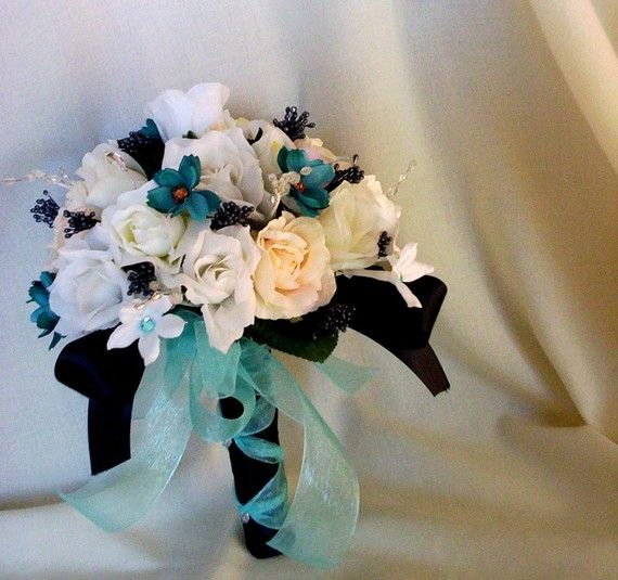 Turquoise Wedding Flowers Bridal bouquet Black Aqua by AmoreBride, $98.00