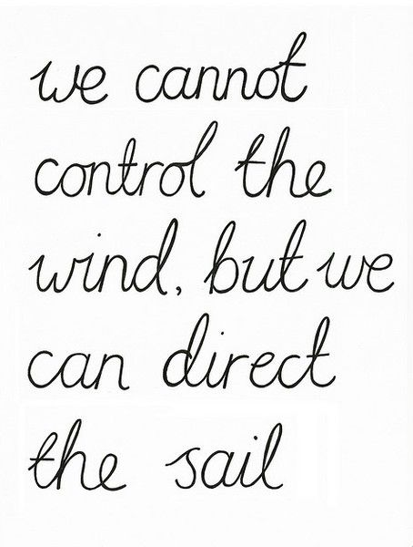 We cannot control the wind, but we can direct the sail