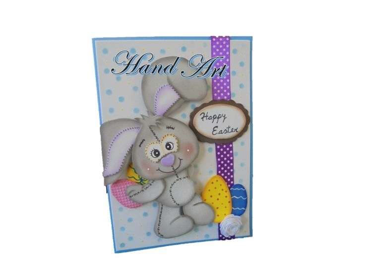 Handmade Gift cards for any occasion. Bunny easter Card.