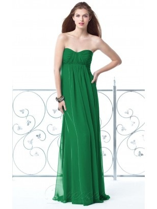Casual Green A-line Floor-length Chiffon Sweetheart Dress With Draped