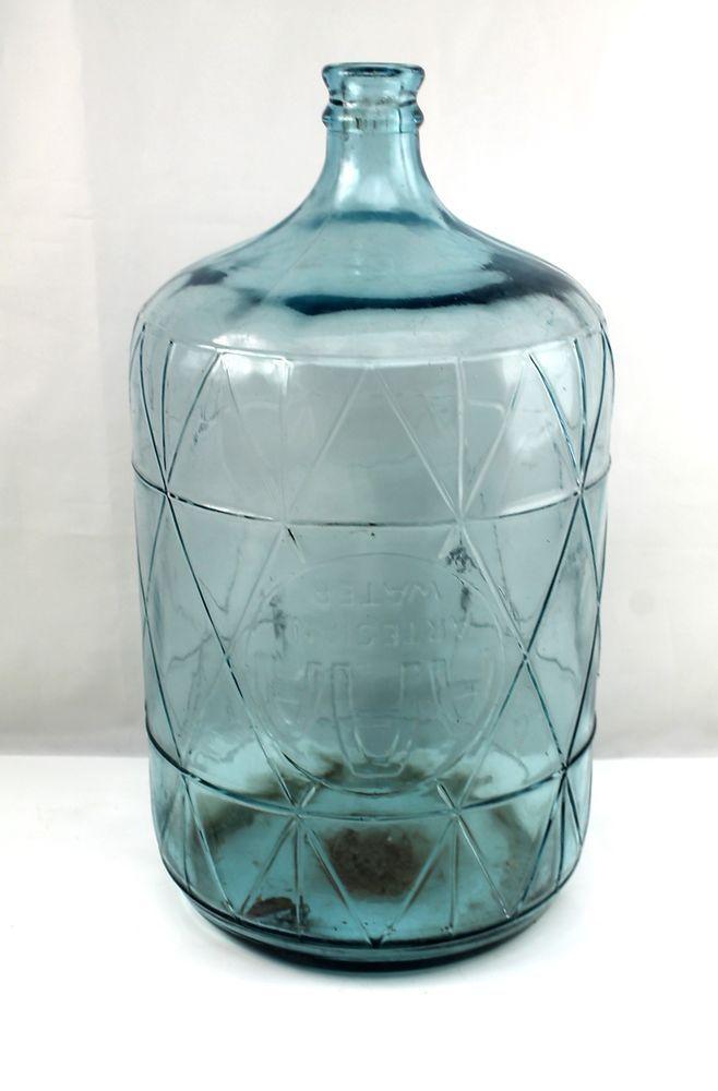vintage aaa artesian water 5 gallon embossed blue glass bottle jug diamond drum blue glass bottles glass bottle and emboss