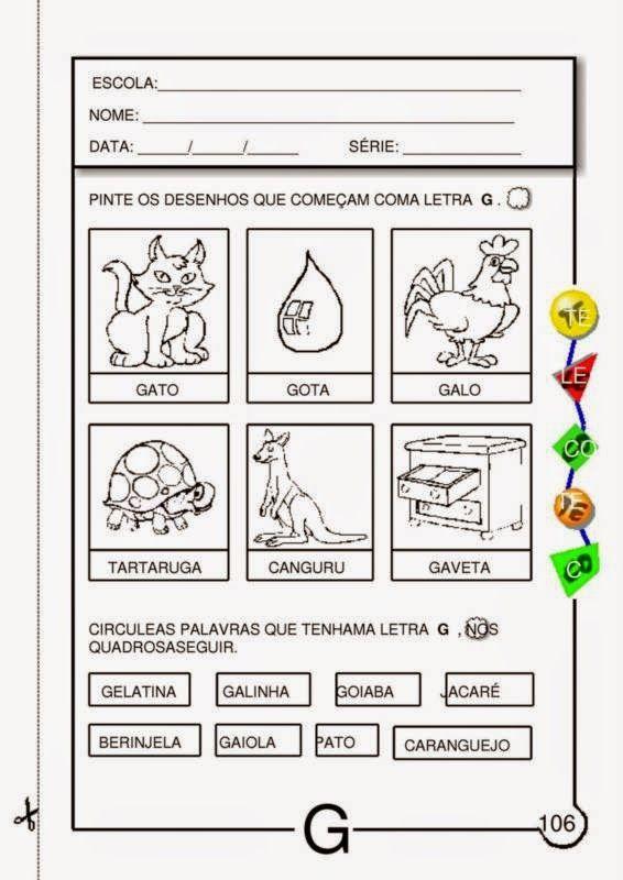 Atividades com a Letra G para Educação Infantil | Viver de Educar