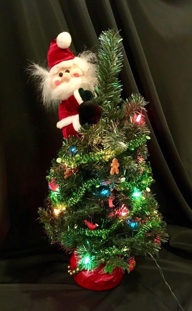 Gemmy 2' Tall Santa Christmas Tree Animated Musical w ...