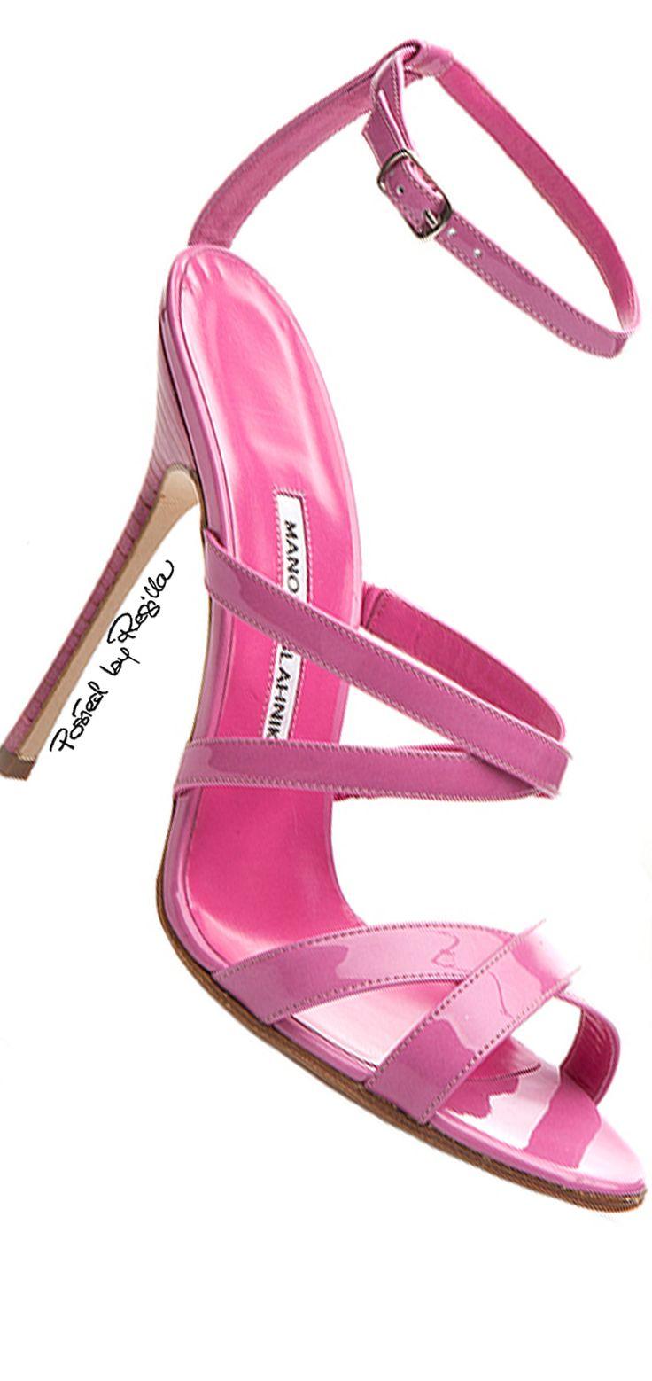 Manolo Blahnik ~ Spring Patent Leather Sandals, Pink 2015