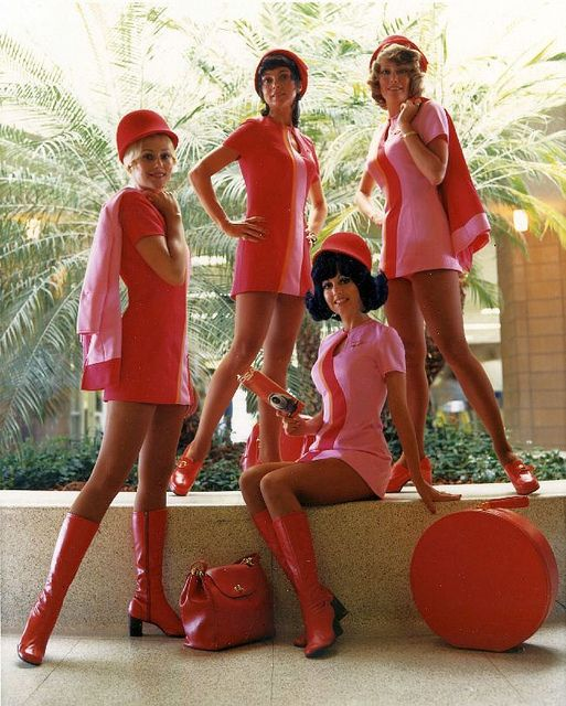1960's flight attendants - pink and red shift dress with patent leather boots for a perfect mod look