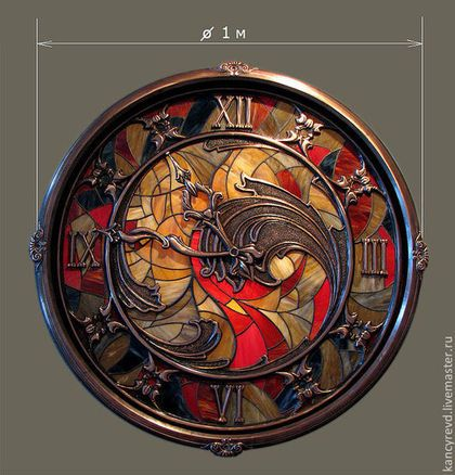 Часы для дома ручной работы. Ярмарка Мастеров - ручная работа Часы на стену большие, с витражем и медным орнаментом. Handmade.