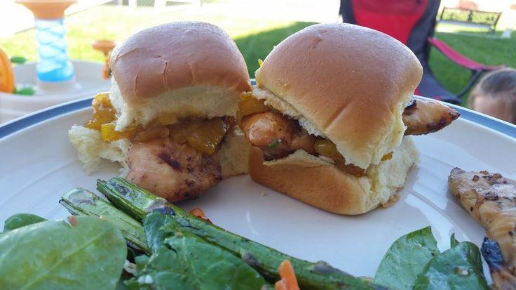 Terriyaki grilled chicken tender slider with pineapple chutney on Kings Hawaiian rolls. #sandwiches #food #lunch #love #salads #recipe #breakfast #coffee #foodie #foodporn