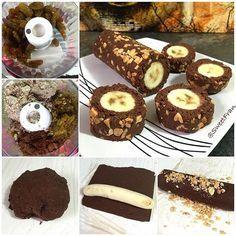 Banana roll Ingredientes: -1 plátano maduro  -100 grs uvas pasas, datiles o similar. -Sobrante de leche vegetal (puedes ver como haceren mi canal de youtube (o 100g de almendras molidas) -3 cdas cacao polvo sin azúcar  -4 cdas de leche vegetal Extras: -Mani picado. ✨Preparación: 1-Poner pasas y leche en procesador, y procesar hasta tener una pasta pegote. 2-Agregar al procesador el cacao y las almendras (o sobrante de leche) seguir procesando hasta conseguir una masa. 3-Retirar del…