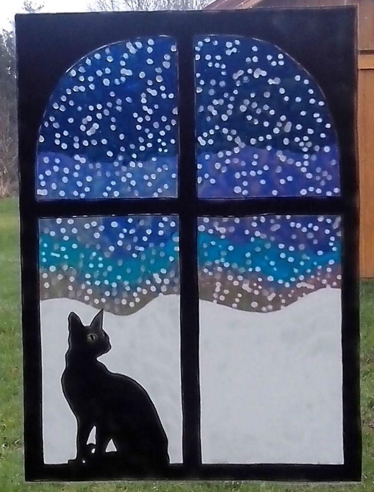 WICOART STICKER WINDOW COLOR CLING GLASS PAINTING CHAT ET NEIGE WINTER CAT