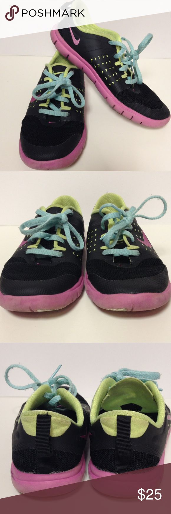 Nike tennis shoes size 2 Lightweight Nike tennis shoes.  Good clean used condition. Love the colors!! Nike Shoes Sneakers