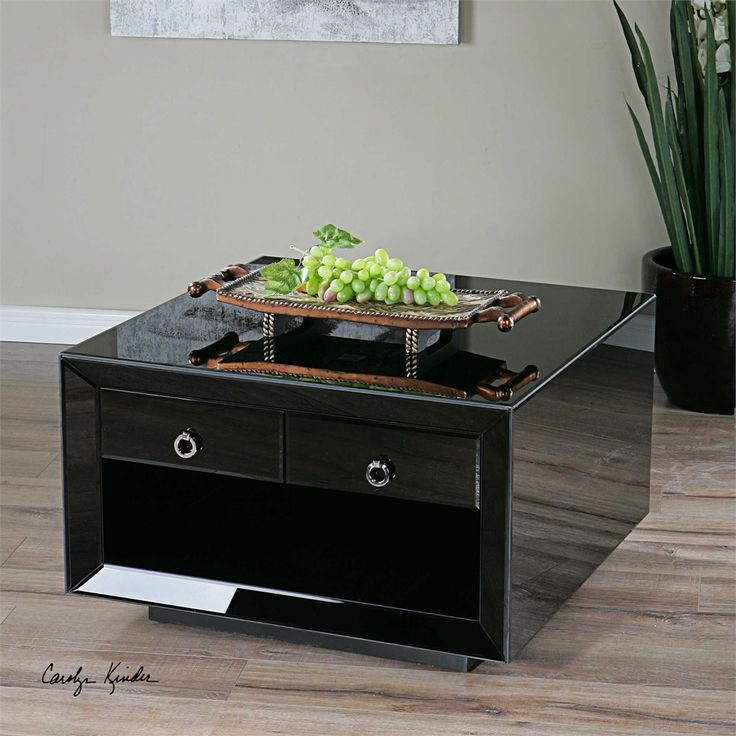Uttermost Pax Black Glass Coffee Table
