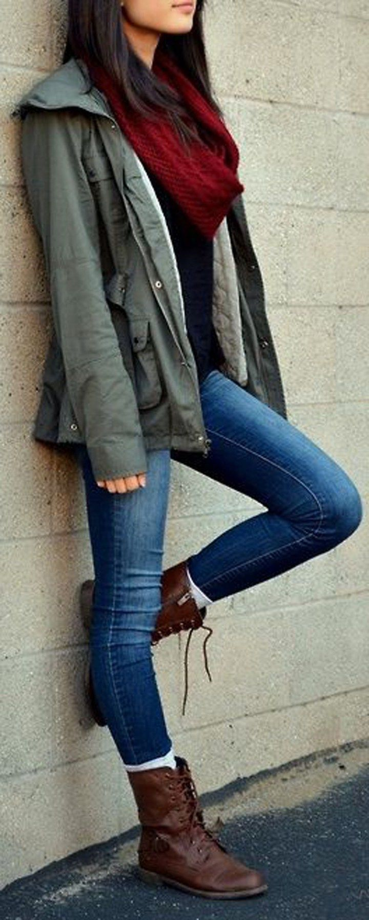 Chic casual winter outfits ideas for teen girls for college school with boat