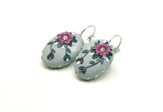 Gray earrings Cashmere Rose flower polymer clay by Fankikas