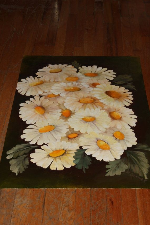 Floor cloth hand painted rug Flowers by ArtworkbyMarina on Etsy, $75.00