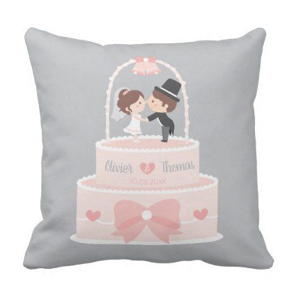#Cute Bride and Groom Pink Wedding Cake Pillow - #wedding gifts #marriage love couples