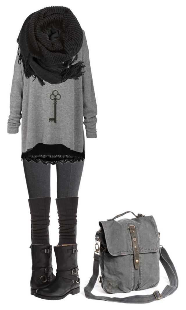 """Strega with actual proof of legs"" by shortcuttothestars ❤ liked on Polyvore featuring H&M, Falke, Frye and Vero Moda"