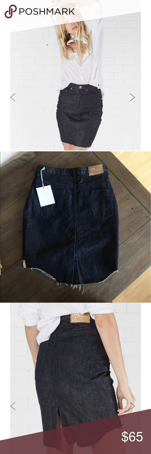One Teaspoon 2020 Skirt One Teaspoon 2020 dark wash frayed skirt. Mid to high waist slim fit. Back slit in center. Size 29. One Teaspoon Skirts Midi
