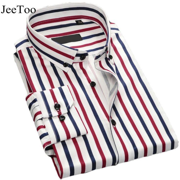 Men Shirt 2016 Long Sleeve Solid Color Casual Shirt Slim Fit Striped Plaid Mens Dress Shirts Cotton White Shirts For Men