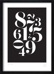 Serif numbers black and white