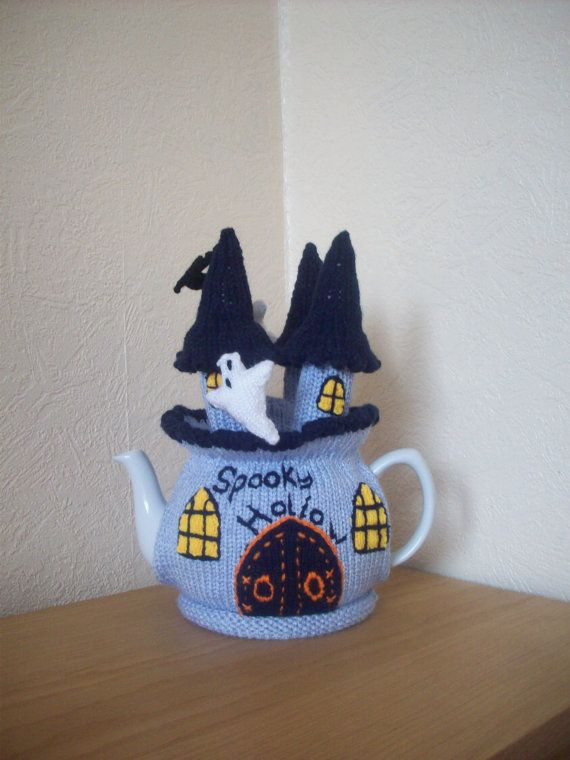 Knitted Tea cosy cosie Spooky Hollow Castle by rosiecosie on Etsy, £15.99